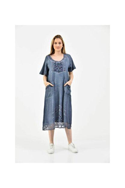 S & S Home and Life Kadın Mavi Yıkamalı Otantik Yazlık Elbise