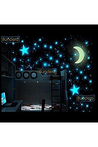 İstocToptan Fosforlu Yıldız Ay Gece Parlayan Oda Duvar Tavan Süsü 24 Parça