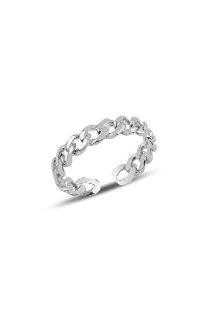 Söğütlü Silver Gümüş Ayarlamalı Rodyumlu Zincir Modeli Yüzük