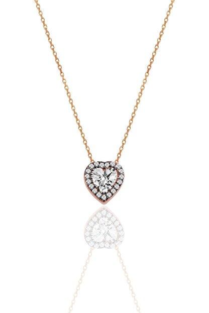 Söğütlü Silver Gümüş Elmas Montürlü Kalp Modeli Kolye