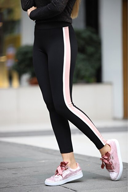 Grenj Fashion Siyah Yanı Pembe Beyaz Şeritli Yüksek Bel Toparlayıcı Tayt