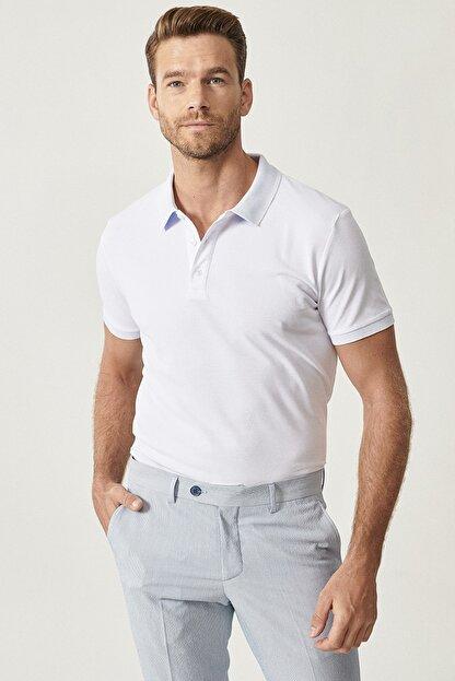 Altınyıldız Classics Erkek Beyaz Polo Yaka Cepsiz Slim Fit Dar Kesim %100 Koton Düz Tişört