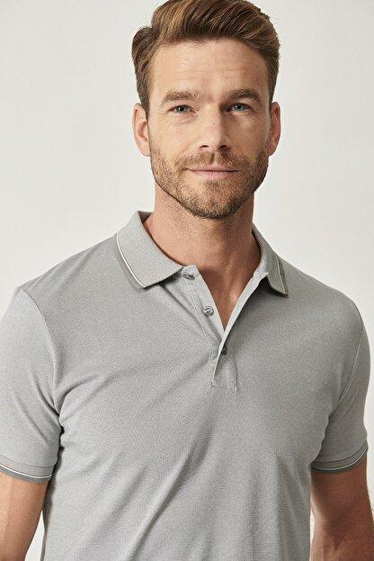 Altınyıldız Classics Erkek Gri Düğmeli Polo Yaka Cepsiz Slim Fit Dar Kesim Düz Tişört