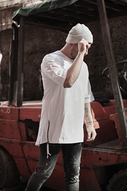 XHAN Erkek  Beyaz Fermuar Detaylı T-shirt 1kxe1-44339-01