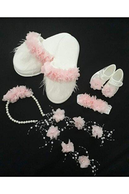 Little Baby Kadın Beyaz İncili Pembe Çiçek Süslemeli Lohusa Terlik Taç Takımı 4 Lü Set