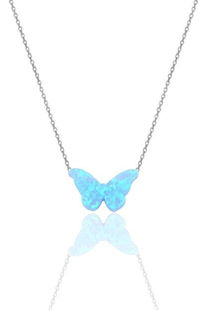 Söğütlü Silver Gümüş Rodyumlu Opal Taşlı Kelebek Kolye