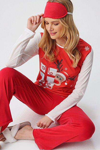 Trend Alaçatı Stili Kadın Kırmızı Uyku Bantlı Bisiklet Yaka Yılbaşı Geyik Baskılı Pijama Takım ALC-X5318