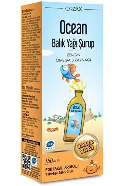 Ocean Omega 3 Balık Yağı Şurubu Portakallı 150 ml