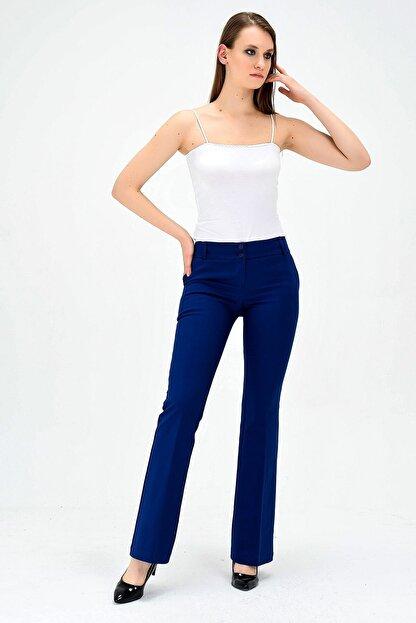 Jument Kalın Kemerli Cepli Ispanyol Bol Paça Likralı Kumaş Pantolon-indigo