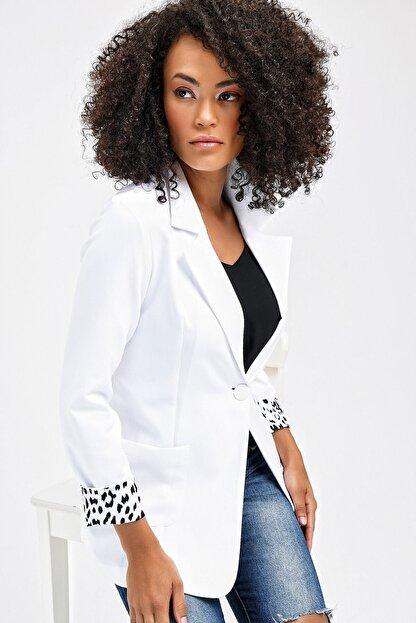 Jument Yakalı Cepli Uzun Kol Katlamalı Blazer Kumaş Ceket-beyaz