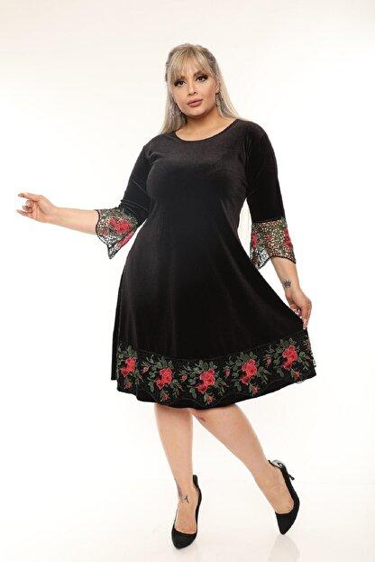 Şirin Butik Kadın Siyah Büyük Beden Çiçek Detaylı Kadife Elbise