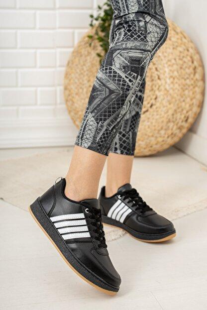 Moda Değirmeni Kadın Siyah Beyaz Krep Tabanlı Sneaker Md1053-101-0002