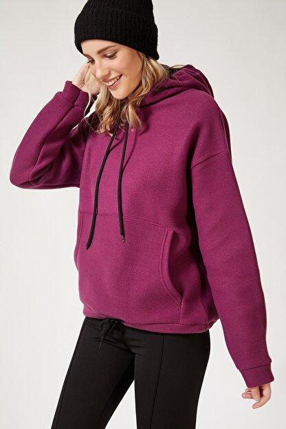 Happiness İst. Kadın Mor Kapüşonlu Kışlık Polar Sweatshirt ZV00047