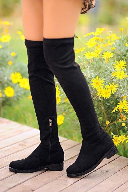 Pembe Potin Kadın Siyah Nubuk Çizme A9200-19