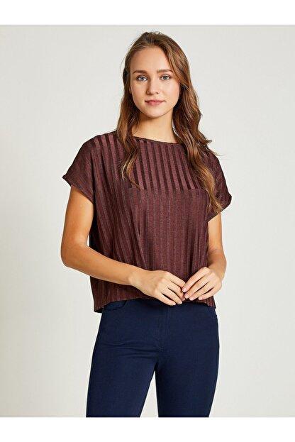 Vekem Kadın Kahverengi Sıfır Yaka Japone Kol Bluz