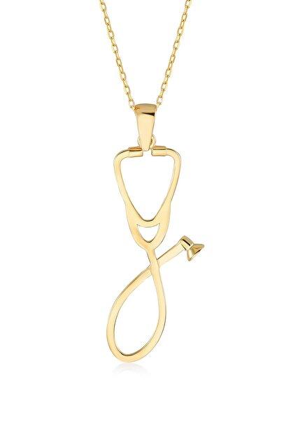 Gelin Pırlanta Kadın Altın Gelin Diamond 14 Ayar Pırlantalı Steteskop Kolye
