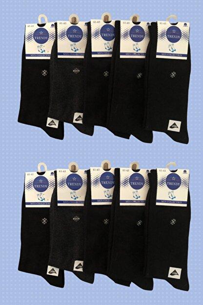 socksbox 10 Lu Erkek 4 Mevsim Pamuklu Siyah Çorap