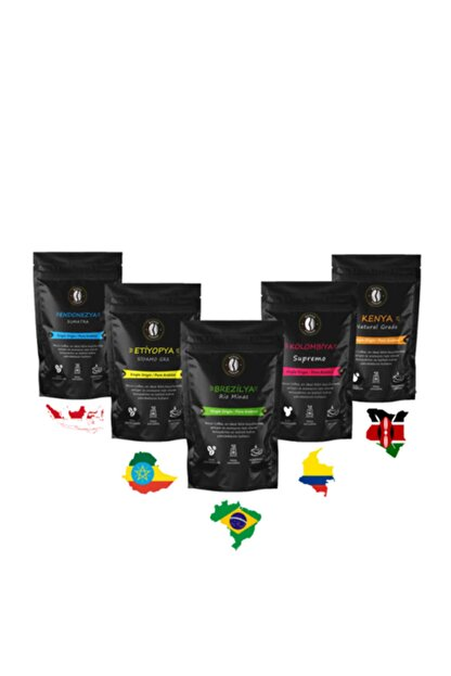RESSO COFFEE Premium Dünya Kahveleri Seti ( French Press , Cold Brew ) 5 X 100 ( 500 Gr. )