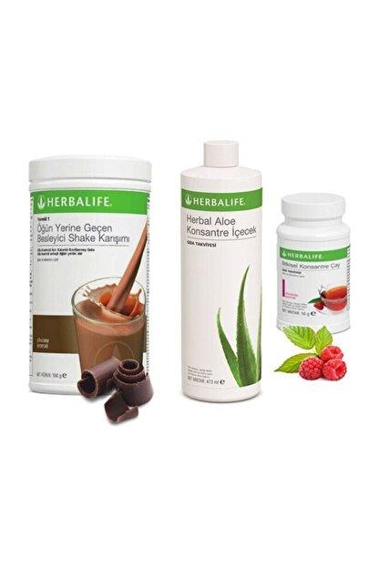 Herbalife Ekonomik Set ( Shake Çikolata 550 Gr. - Aloe 473 Ml.. - Ahududu Çay 50 Gr