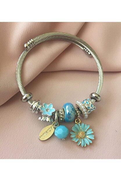 Ankı Papatya Charmlı Pandora Model Şık Kadın Bileklik Mavi