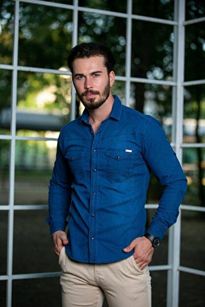 BAYEFENDİ Erkek Mavi Slim Fit Cepli Likralı Kot Gömlek