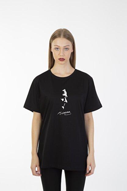 By Okat Kadın Siyah Tişört ( T-shirt ) Atatürk Imza Ve Silüet Baskılı Özel Seri