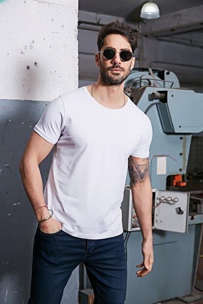 Sateen Men Erkek Beyaz B. Yaka Kısa Kol T-Shirt