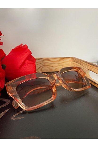Mathilda Aksesuar Mia Kalın Çerçeveli Tasarım Gözlük Bal Çerçeve Kahve Cam