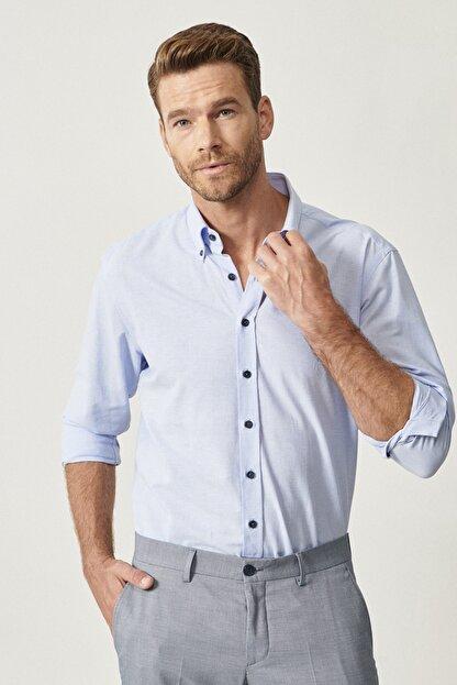 Altınyıldız Classics Erkek Açık Mavi Düğmeli Yaka Tailored Slim Fit Oxford Gömlek