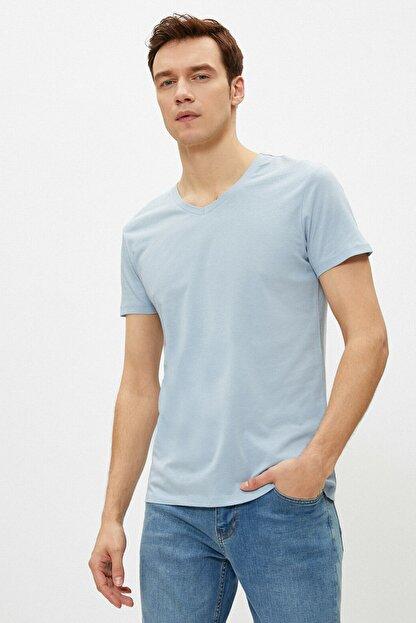 Koton Erkek Açık Mavi T-Shirt 1YAM12138LK