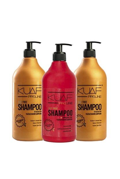 Kuaf Tuzsuz Keratin Şampuan 2 Adet + Tuzsuz Argan Yağlı Şampuan 1 Adet Set