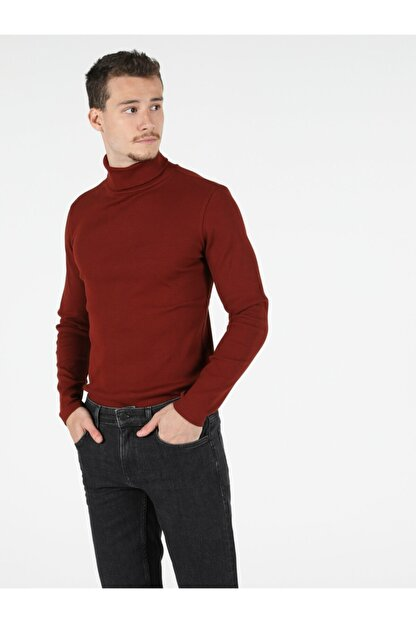 Colin's Slim Fit Balikci Erkek Kiremit Tshirt U.kol
