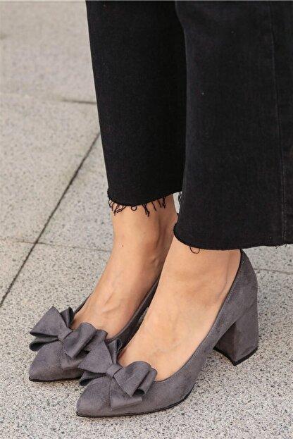 Mio Gusto Liz Gri Fiyonklu Ayakkabı