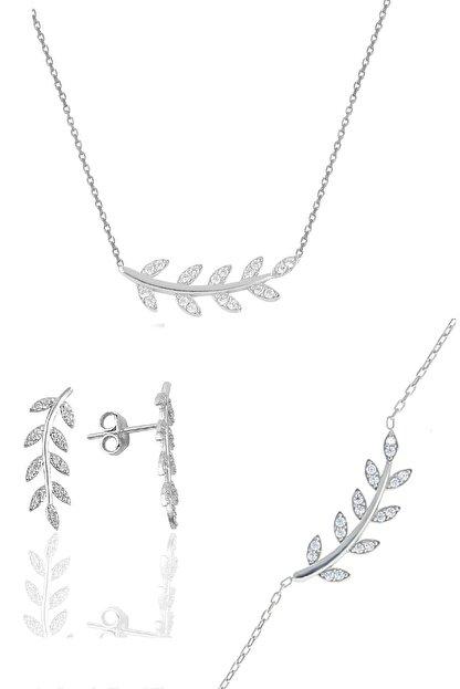 Söğütlü Silver Gümüş Rodyumlu Zirkon Taşlı Yaprak Üçlü Set