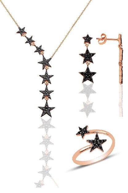 Söğütlü Silver Gümüş rose siyah taşlı kuyruklu yıldız kolye kupe ve yüzük üçlü set
