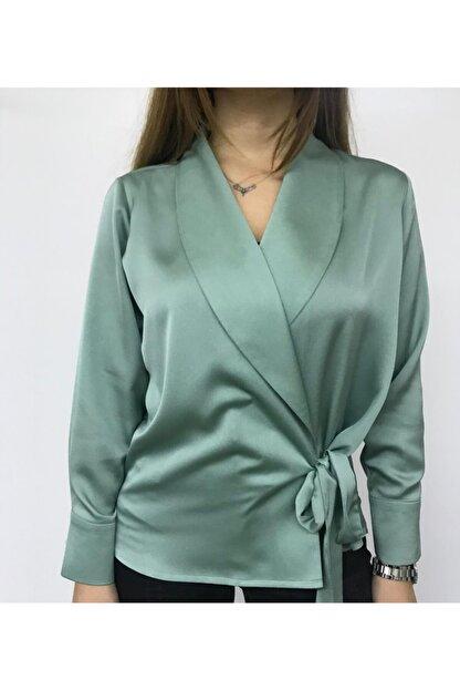 ALSU BUTİK Kadın Yeşil Şal Yaka Buluz