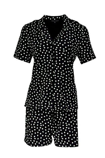 House of Silk Yumuşak Puantiye Desenli Siyah Esnek Şort Pijama Takımı