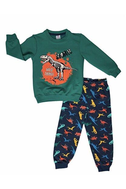 Buse&Eylül Bebe Erkek Çocuk Yeşil Renk Dinozor Desenli Eşofman Takımı