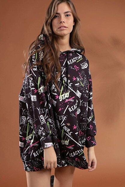 Pattaya Kadın Grafik Desenli Kapşonlu Oversize Elbise Sweatshirt Y20w110-4125-7