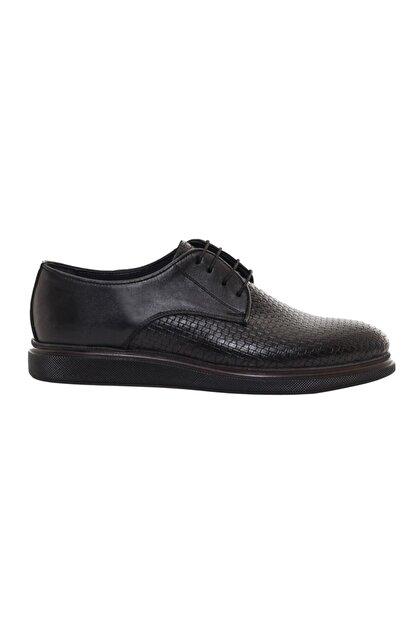 CSS FURKAN Erkek Bağcıklı Siyah Hakiki Deri Günlük Ayakkabı