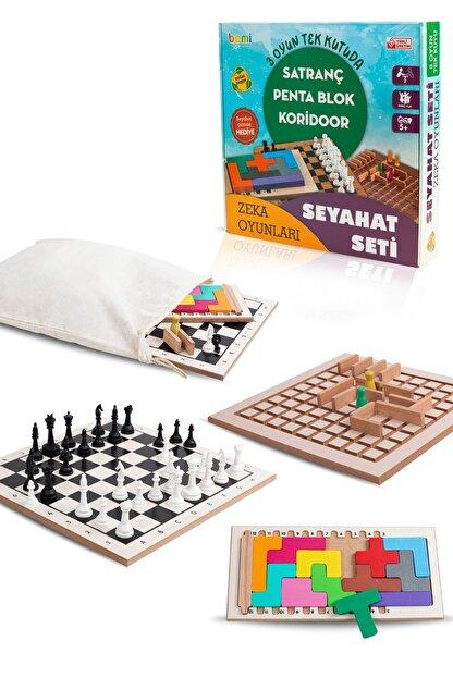 BEMİ Lüks Ahşap Seyahat Seti 3 Oyun Bir Arada - Satranç Penta Blok Koridoor Çocuk Ve Aile Kutu Oyunu