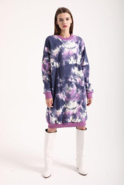 Kokosh Kadın Mor Batik Sweat Elbise
