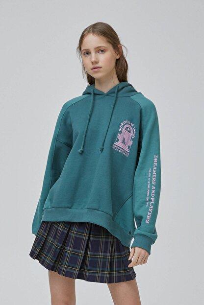 Pull & Bear Kadın Şişe Yeşili Yeşil Blok Renkli Sweatshirt 09594347