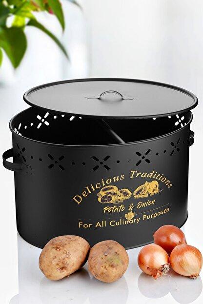 Kitchen Life Büyük Boy Bölmeli Lüx Metal Patates-Soğan Kovası