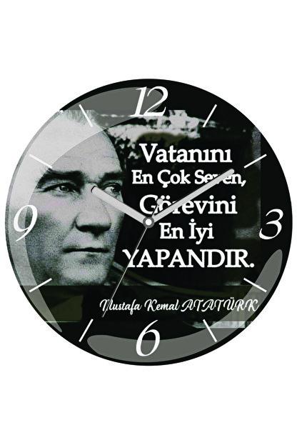 3M Atatürk Bombeli Gerçek Cam Duvar Saati