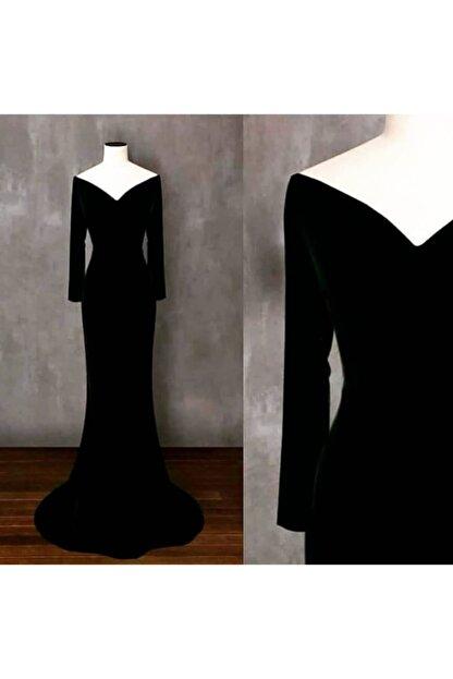 Styling Park Siyah Uzun Kadife Elbise