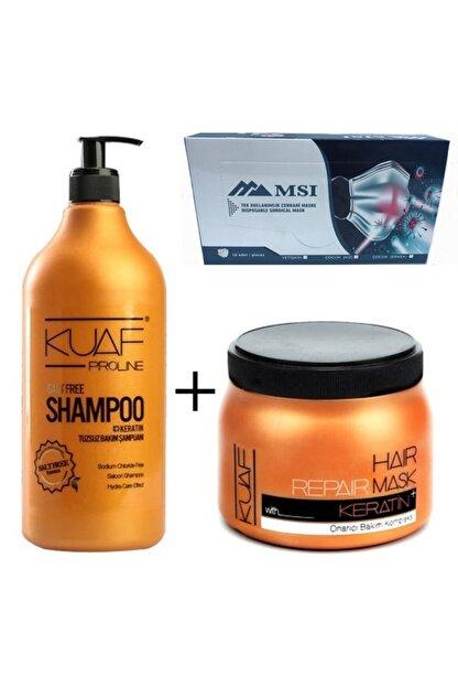 Kuaf Tuzsuz Şampuan 1000ml + Keratin Saç Maskesi 500ml 10lu Full Ultrasonik 3 Katlı Maske Hediye