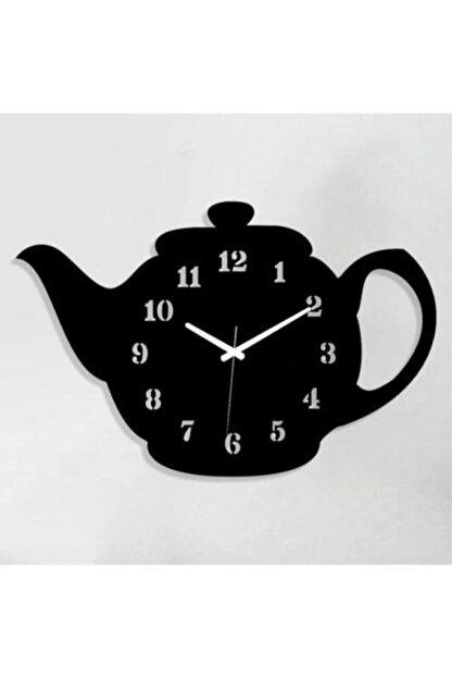 MOD Hediyelik Ahşap Demlik Tasarımlı Dekoratif Mutfak Duvar Saati
