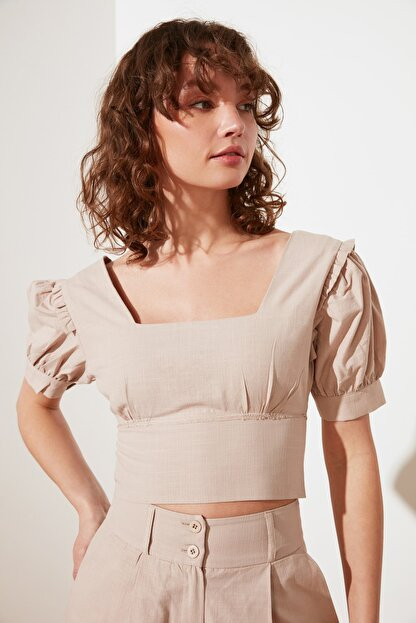 TRENDYOLMİLLA Taş Petite Fermuarlı Bluz TWOSS21BZ1530