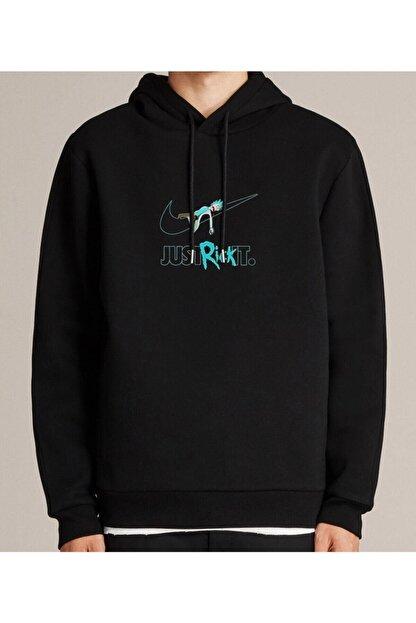 NVM Tekstil Nvm Rick Just Rick It Baskılı Siyah Erkek Kadın Unisex Kapşonlu Sweatshirt Uzun Kol